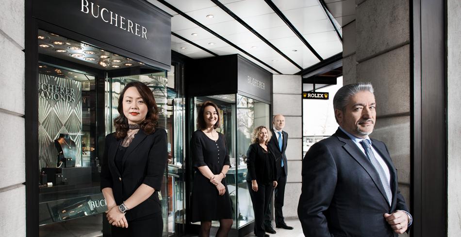 Das Gewinner-Team Multimarken-Boutique in Genf Bucherer an der Rue du Rhône.  Von links: Ying Pa