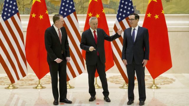Von links:  Der US-Handelsbeauftragte Robert Lighthizer, der chinesische Vizepremier und Handelsvert